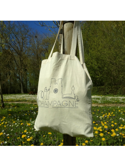 "Tote bag naturel ""Skyline Champagne"""