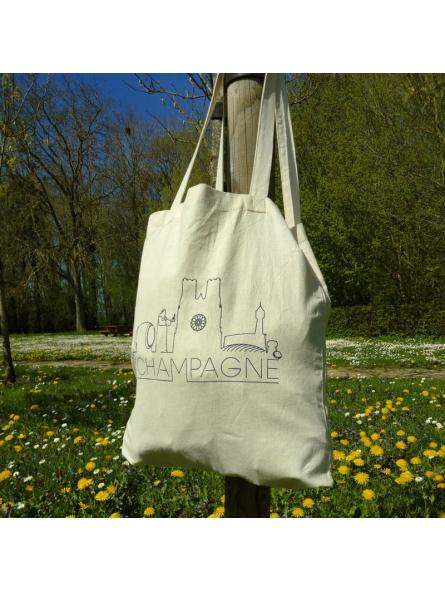 "Tote bag naturel ""Skyline Champagne"""