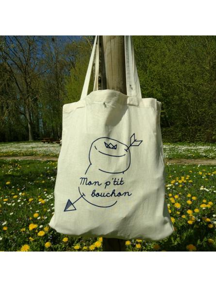 """Tote Bag naturel """"Mon p'tit bouchon"""""""