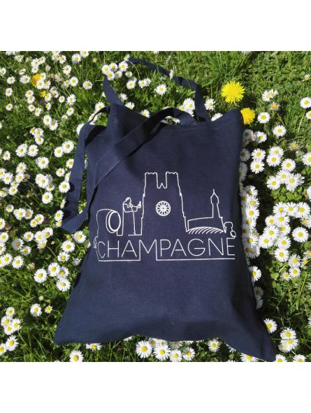"Tote bag bleu ""Champagne"""